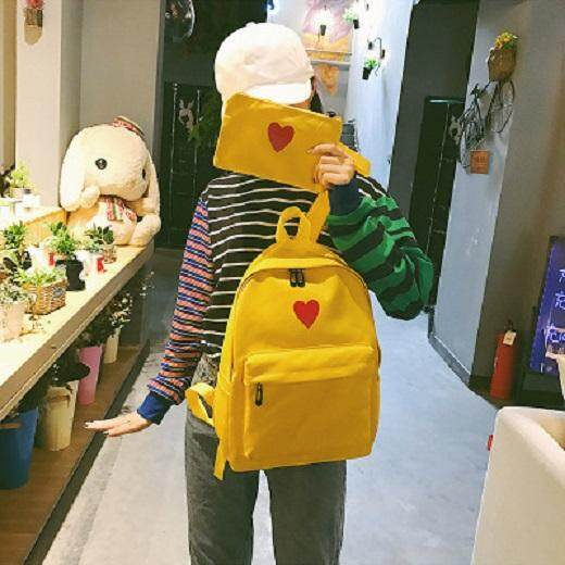 [PRE-ORDER] Women Love Shape 2 in 1 Students Large-capacity Canvas Backpack