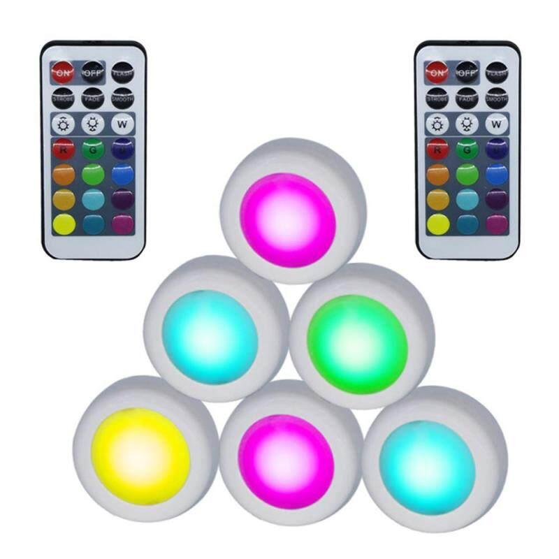 Supermall 6 cái ĐÈN LED Điều Khiển từ xa 12 Màu Bầu Không Khí Tủ Đèn Trang Trí Nhà