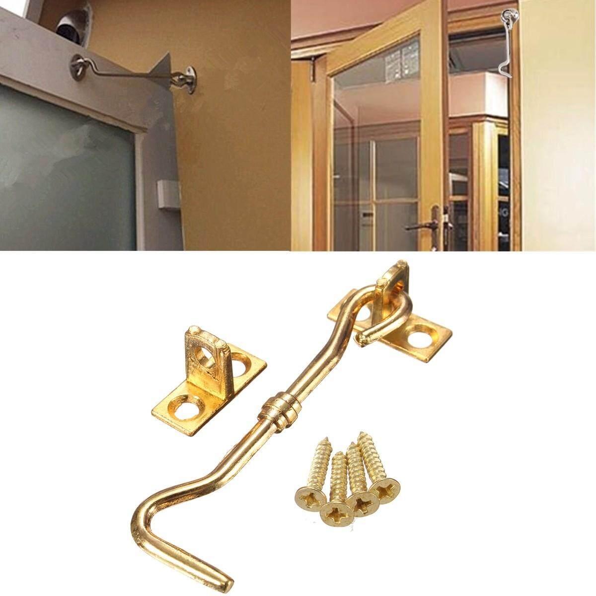 20pcs 3 Cabinet Door Showcase Holder Window Latch Hook & Eye Wind-Proof Silent Lock Gold - intl