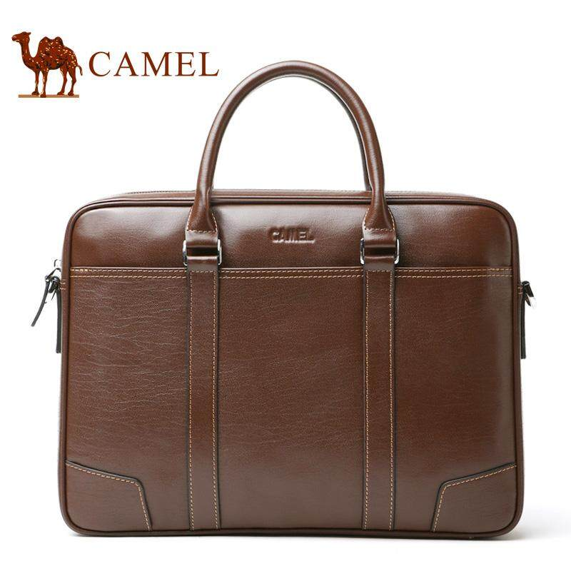 c0f825c28d85 Camel Men s 100% Genuine Cow Leather Business Bags vintage formal office Briefcase  casual travel holder