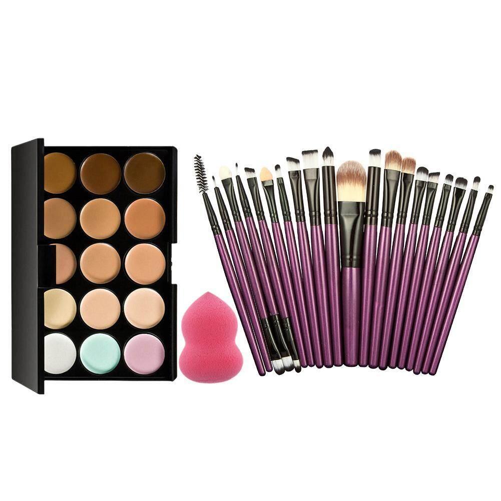 15 Warna Cream Makeup Palet Concealer + Spons Make-up 20 Pcs Sikat Bedak-Intl