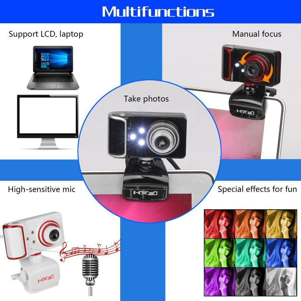 MagiDeal Web Camera USB HD Webcam 3 LED with Microphone Clip-on For Desktop white - intl