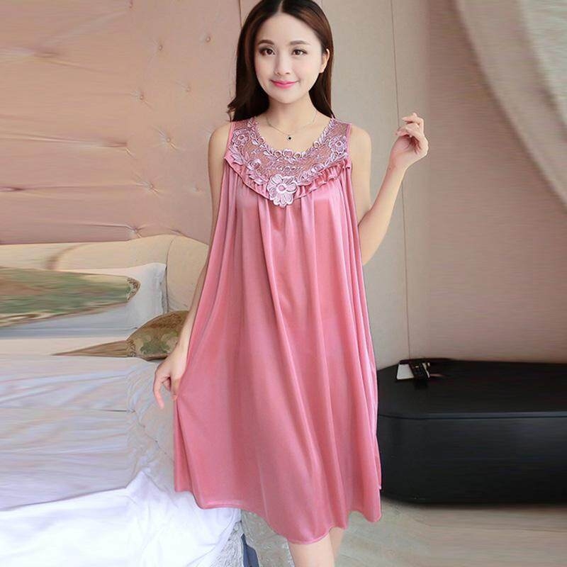 e8b3f058185 Summer Women Nightgown Ladies Sexy Sleepwear Lace Long Dress Robes Nightwear