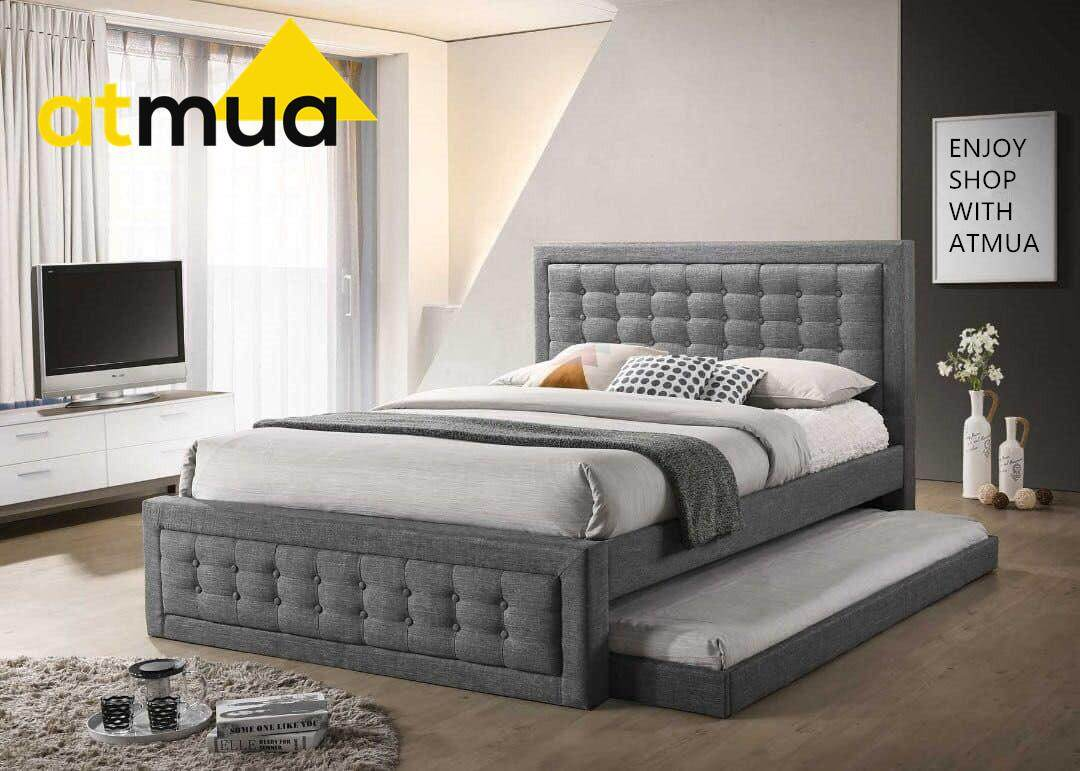 Atmua Jessica Condo Apartment Fabric Queen Size Bed with Single Bed Pull Out (Export Quality) [High Quality Fabric] *3 Person Bed (No Mattress)