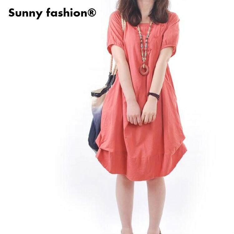b241350e0f Sunny Fashion® Fashion Brand 2018 New Cotton Linen Vintage Dress Ladies  Casual Loose-Fit
