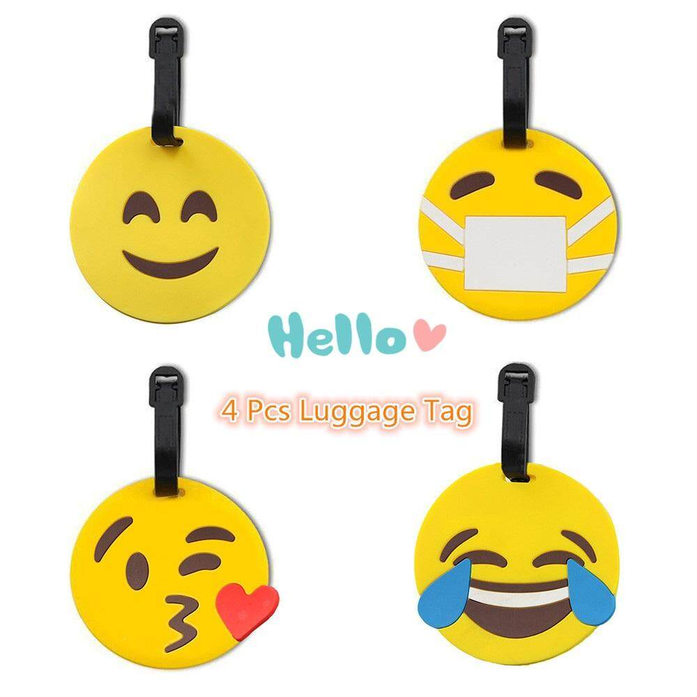Features Luggage Card Iron Man Pvc Silicone Name Hang Tag Creative Ironman Head 4 Pcs Cartoon Travel Suitcase Bag Labels Address Little Yellow Expression Design
