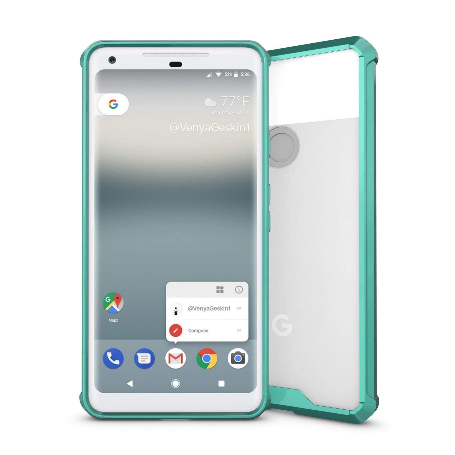 Hybrid TPU Acrylic Shockproof Armor Defender Case with Crystal Clear Back Cover For Google Pixel 2