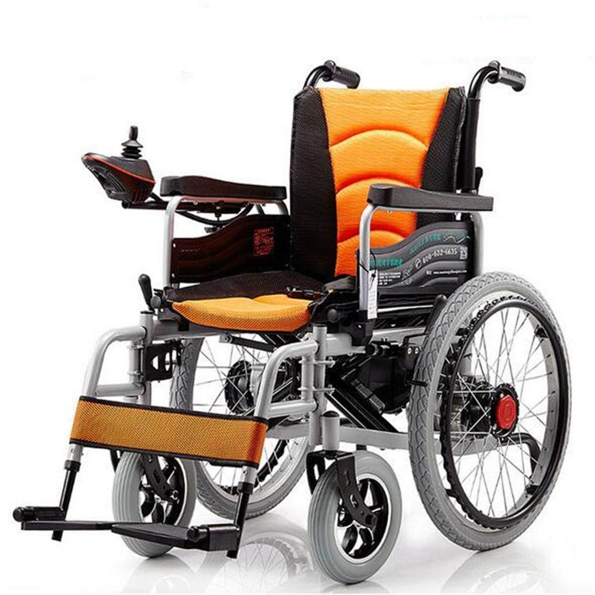 Hình ảnh Folding Electric Wheelchairs Dual Motors Elderly Disabled Scooter Security Alert