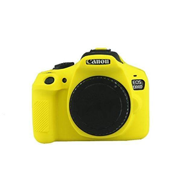 HellowPower 1300D Camera Housing Camera Body Case Cover Soft Silicone Protective Accessory Rubber Detachable Protection Camera Bag for Canon EOS 1300D Rebel T6 Kiss X80 Digital Camera (Yellow)