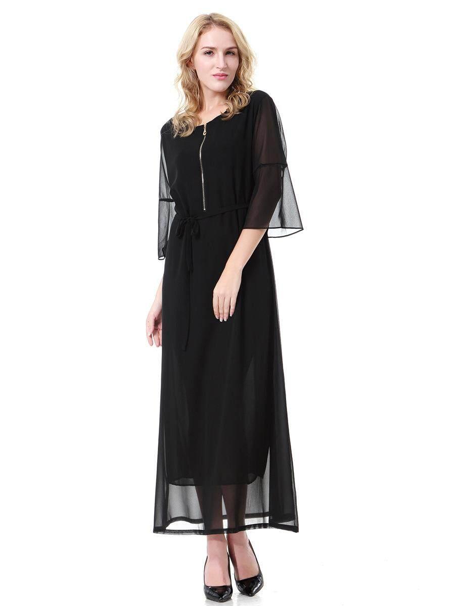 Malaysia Wanita Baju Muslim Panjang O-Leher Chiffon Baju Kurung Timur Tengah Dubai Saudi Arabia Abaya Gamis-Intl