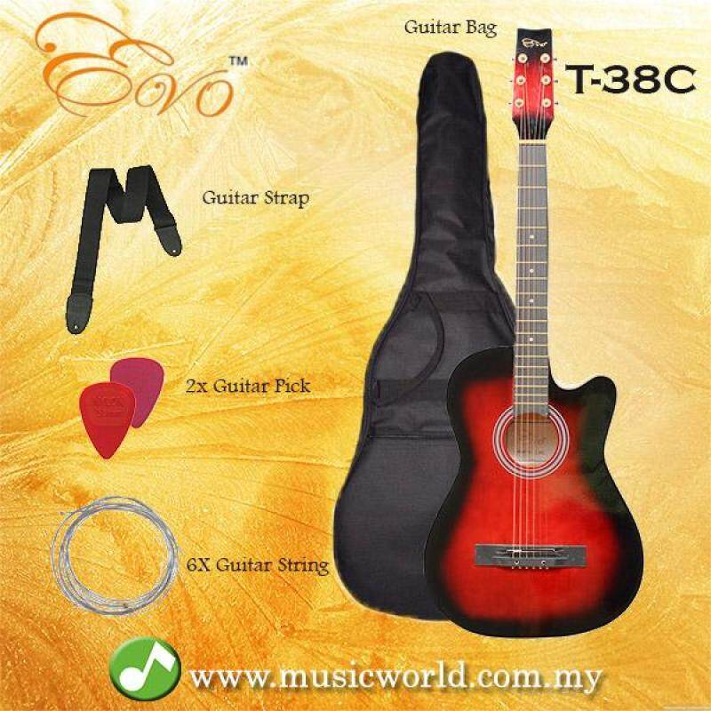 EVO T-38C Red Acoustic Guitar 38 Inch Beginner Guitar Student Guitar Free Bag String Pick Strap Malaysia