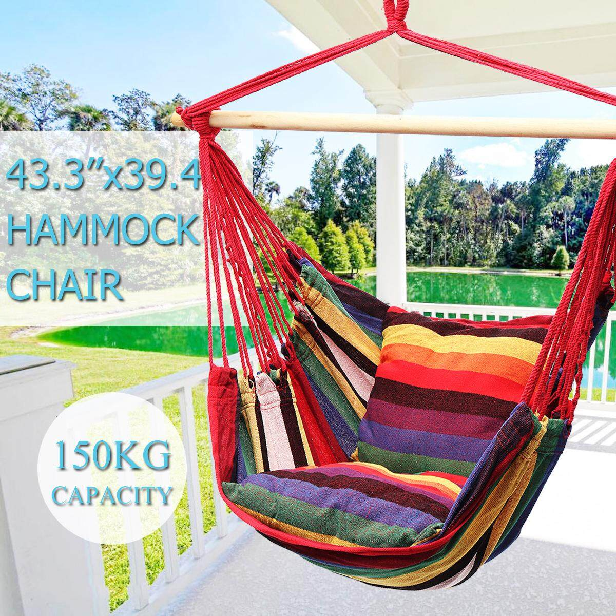 2PCS 43.3x39.4 Hanging Hammock Chair Swing Outdoor Indoor Camping Garden - intl