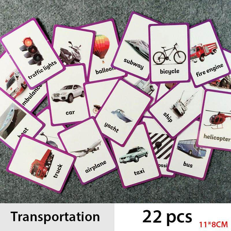 22pcs/set Children Vehicle Transportation English Cognitive Flash Card Cognition Learning Early Educational Toys Baby Flash Card For Kids Gifts By La Chilly.
