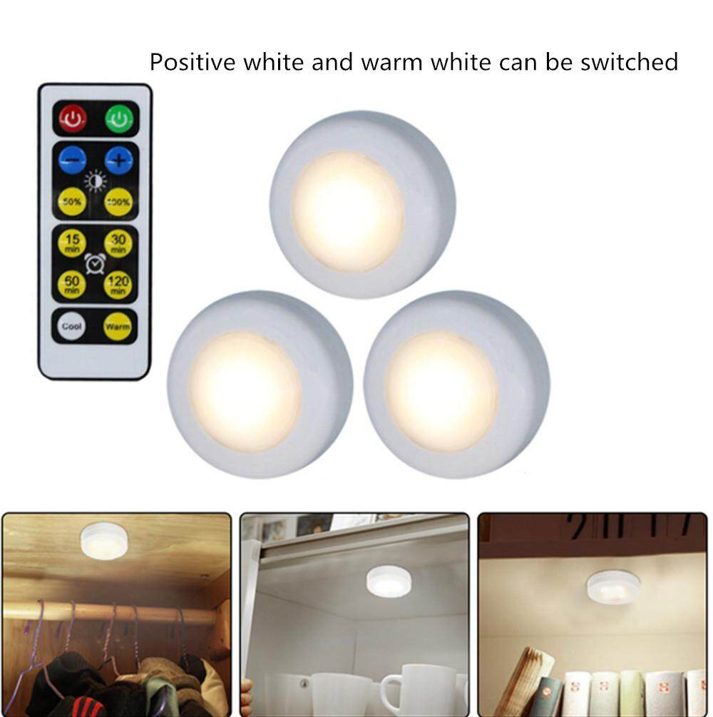 YZH Shop Lampu Hias LED 3 Buah/Set, Lampu Dekorasi Kabinet Kendali Jarak Jauh 2 Warna untuk Rumah Hotel Gaya: Bulat