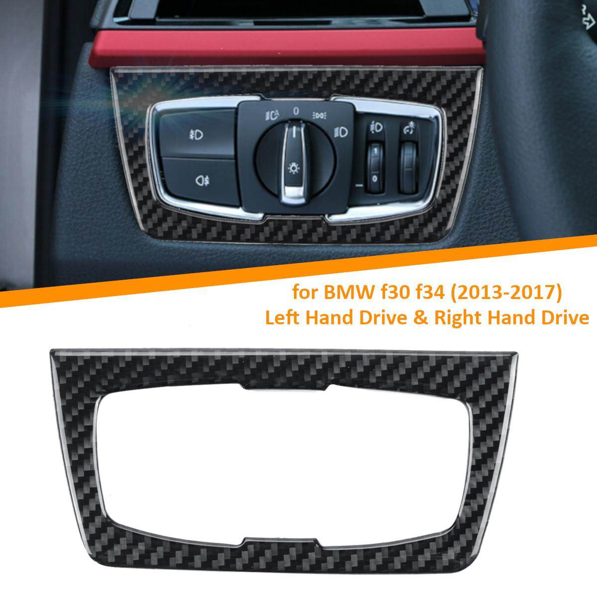 Carbon Fiber Headlight Switch Buttons Decor Cover Interior Trim Car Styling Sticker For Bmw F30 F34 320i 3 Series Accessories By Audew.