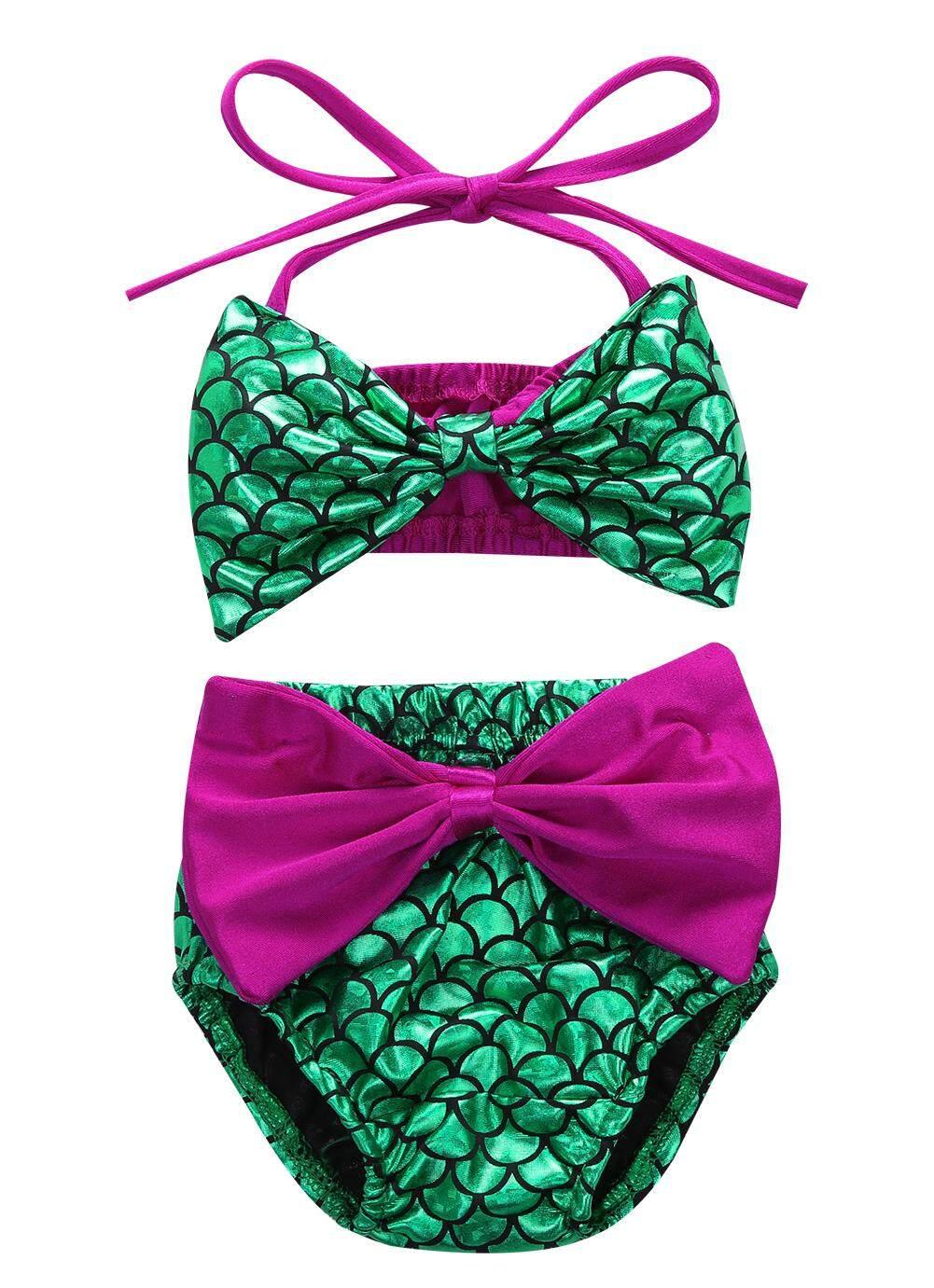 525ba7f7092 Toddler Baby Girls Mermaid Bowknot Swimsuit Swimwear Summer Bikini Set 0-24M