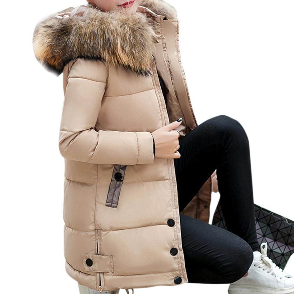Hình ảnh thu nhỏ Big Sale Women Stylish Winter Warm Thicken Plush Collar Hooded Outerwear Warm