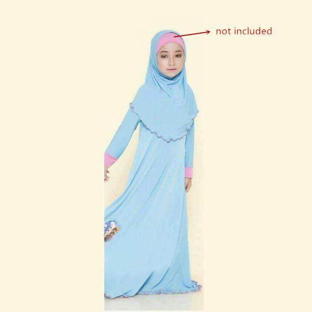 Frozen Kids Baju Kurung Long Dress with headscarf