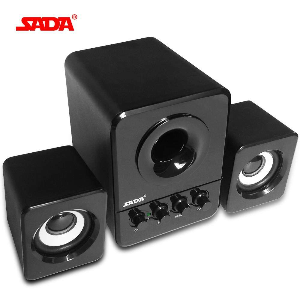 SADA Wired Mini Portable Combination Speaker Laptop Computer Mobile Column Computer Speaker USB 2.1 Bass Cannon 3W PC Speakers Black - intl