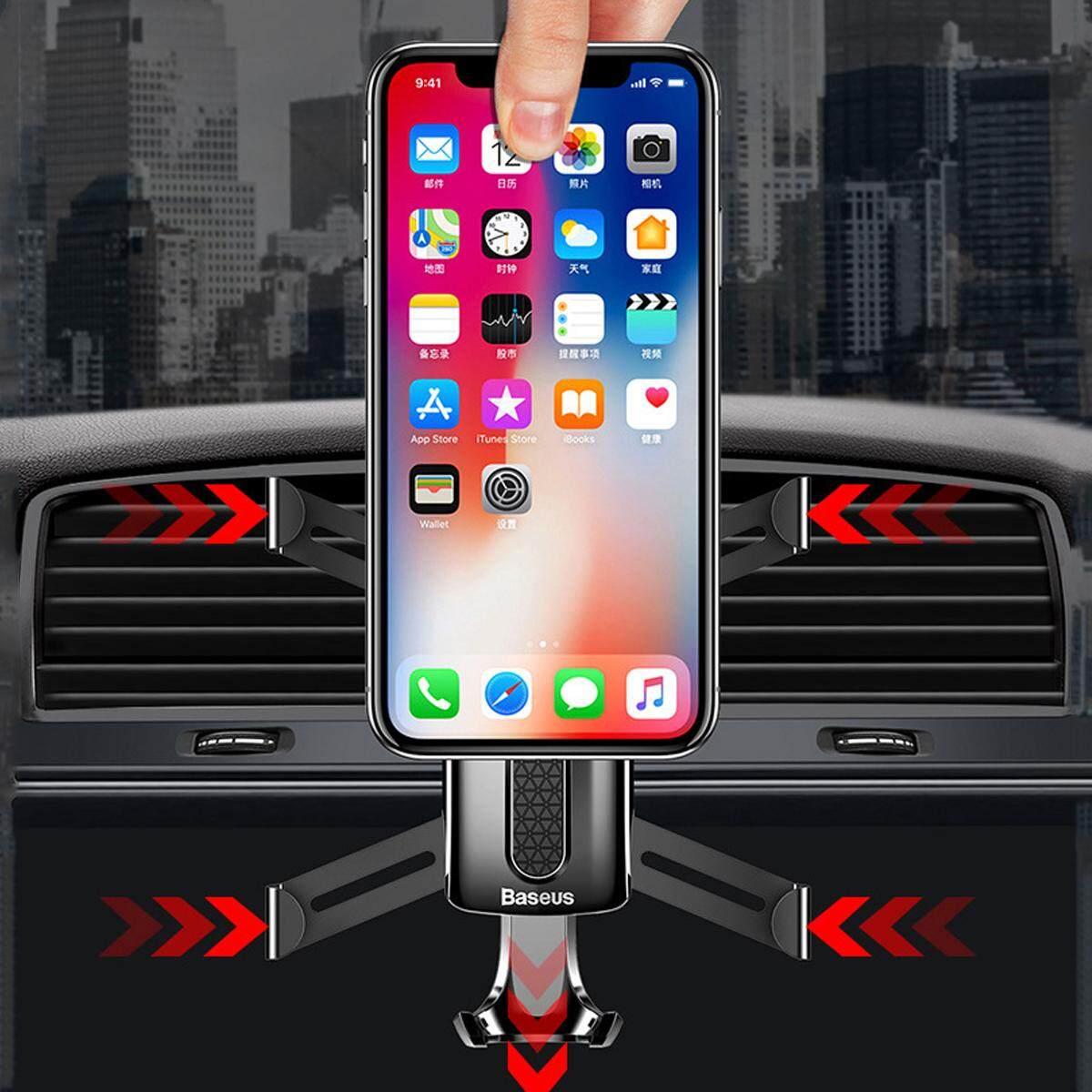 2 Pcs Mobil Penyangga Tepi Ponsel Gravitasi Aluminium untuk iPhone X/untuk Samsung Galaxy S9 Hitam-Intl