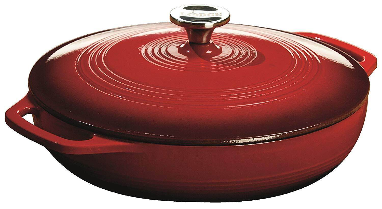Lodge 3.6 Quart Cast Iron Casserole Pan. EC3CC43 Red Enamel Cast Iron Casserole Dish with Dual Handles and Lid (Island Spice Red)