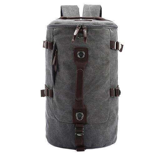 GOODPLANET Canvas Hiking Travel Cylinder Bag Backpack Rucksack