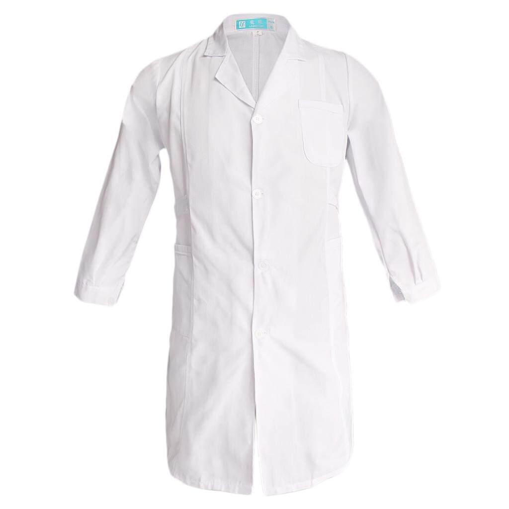 650b5c2a7f6 MagiDeal Women White Scrubs Lab Coat Medical Nurse Doctor Uniform Lapel Neck  XL Long Sleeve-Thin-White Philippines
