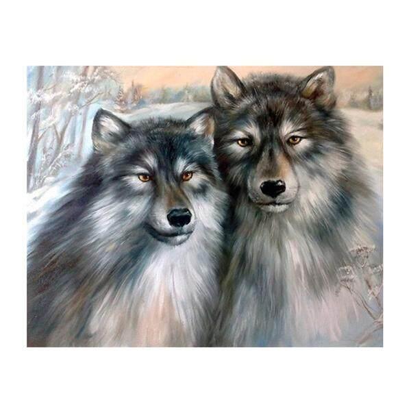 Bordir Permata Serigala Lukisan Pola Dengan Diamond Jahitan Menyilang Kit Dekorasi Dinding Hiasan Rumah 8476