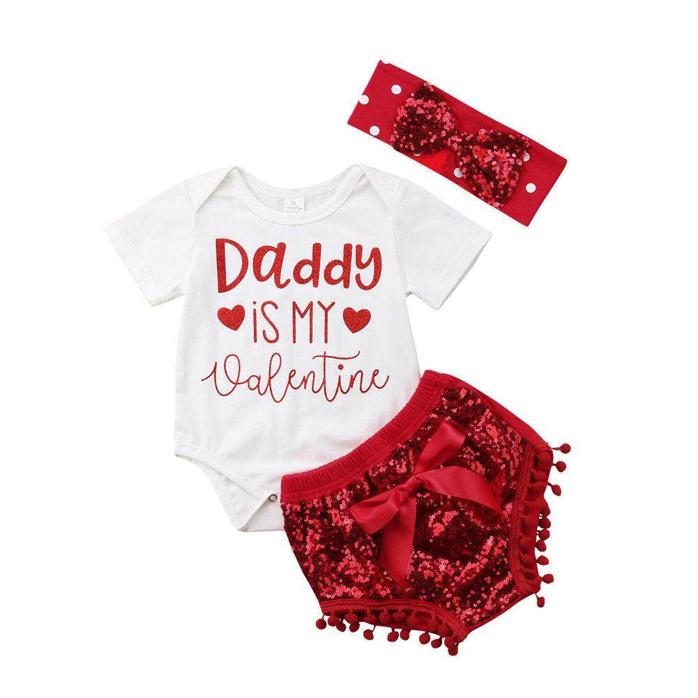 392e2f41c6d Newborn Infant Baby Girls Party First Birthday Clothes 3 pieces Letter  Printed RomperTops Romper+ Bowknot Shorts