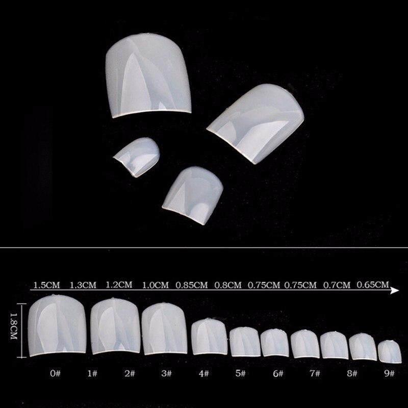 500 Pcs/pack Palsu Kuku Palsu Akrilik Tips Alami Putih Transparan Kuku Kaki Manikur Kecantikan ...