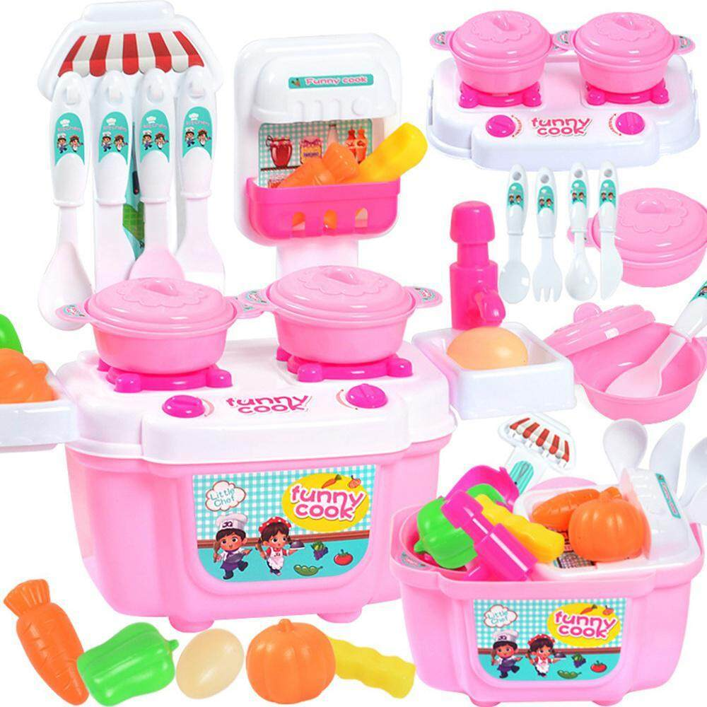 Niceeshop Kitchen Playset 21 Pcs Kitchen Cooking Set Cooktop Tap Pot Fruit Vegetable Playset Toy For Kids Early Age Development Educational By Nicee Shop.