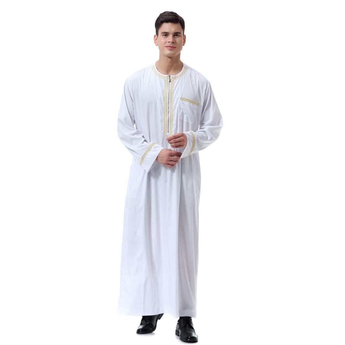 New hot Muslim Arab Middle Eastern men's printed zipper round neck robe