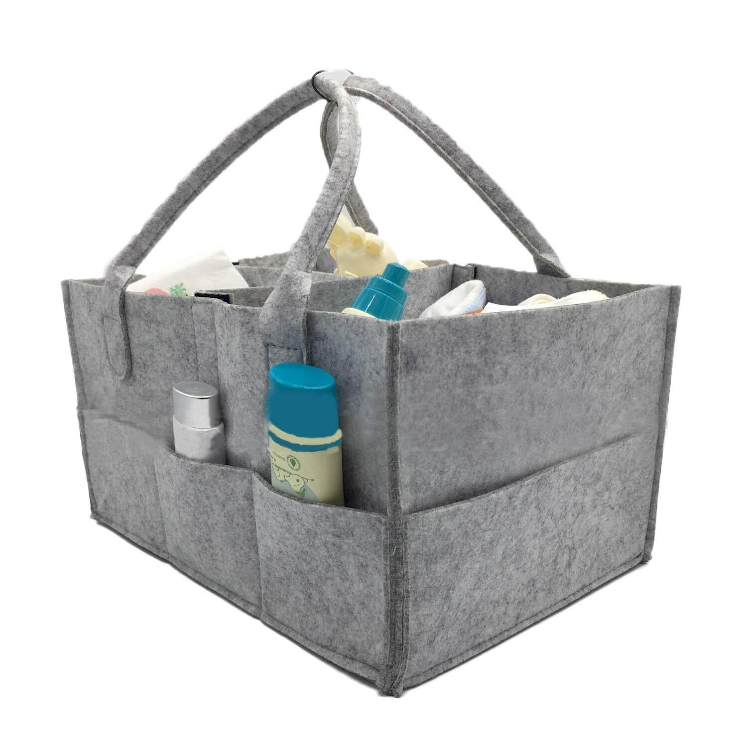 Baby Diaper Caddy Organizer Portable Durable Carrier Felt Handbag Storage Tote Bag with Handle for Toys Cosmetic Makeup Magazine - intl