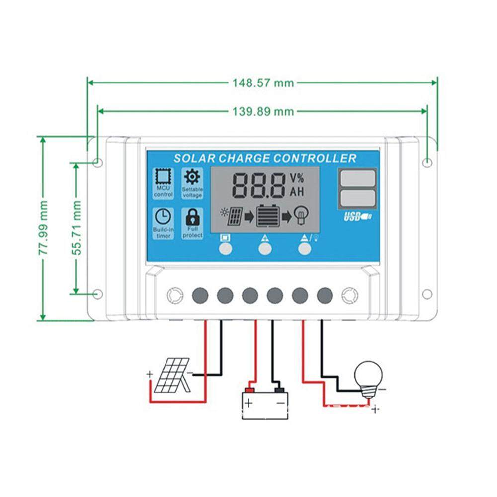 10A 12V 24V Auto work PWM Solar Charge Controller with LCD Dual USB 5V Output Solar Cell Panel Charger Regulato - intl