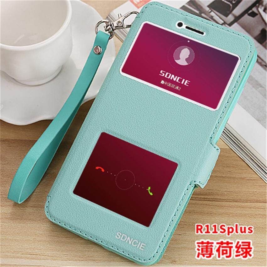Luxury Smart Front Window View Leather Flip For Oppo R11S Plus / 6.43 inch Phone Case