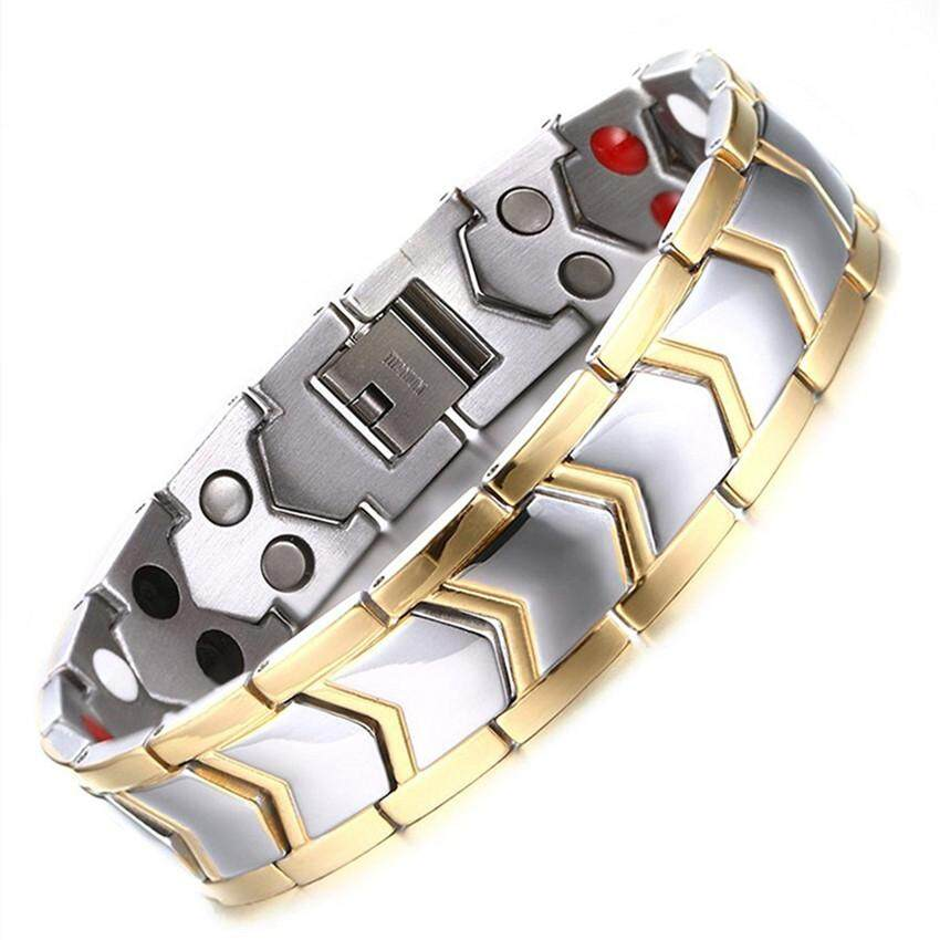 Mens Titanium Healthy Magnetic Therapy Bracelet Two Tone Gold Edge With Direction Design By Yue Fan Store.