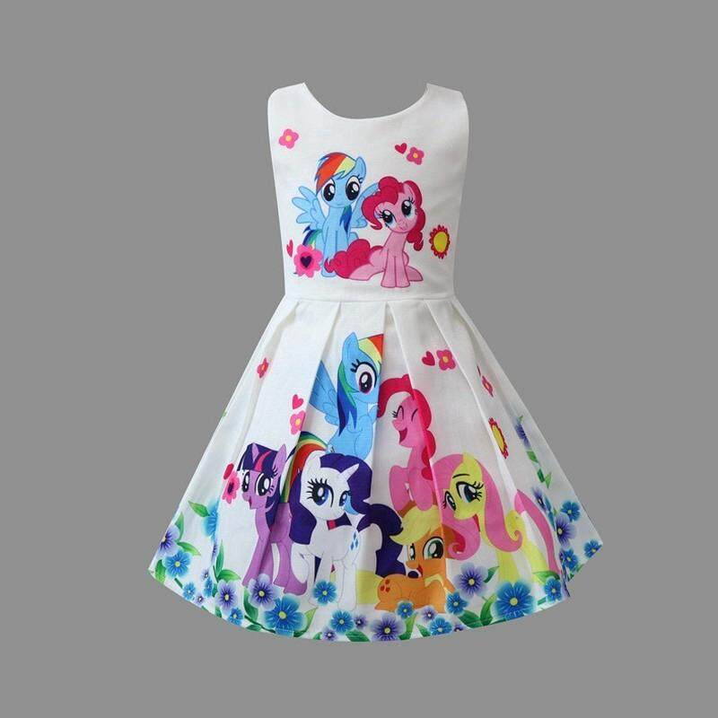 My little pony printed cartoon cotton summer dress baby girl dress 918990df1472