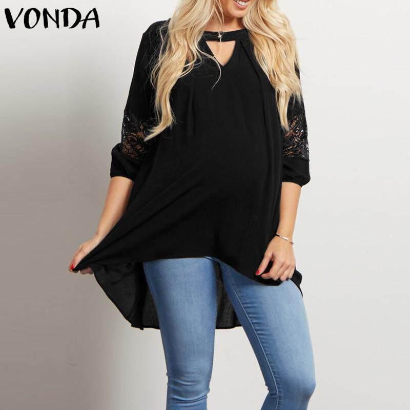 Vonda ผู้หญิงการตั้งครรภ์เสื้อเสื้อคลุมท้องแขนสั้นลูกไม้เสื้อยืดไม่สมมาตรใหม่.