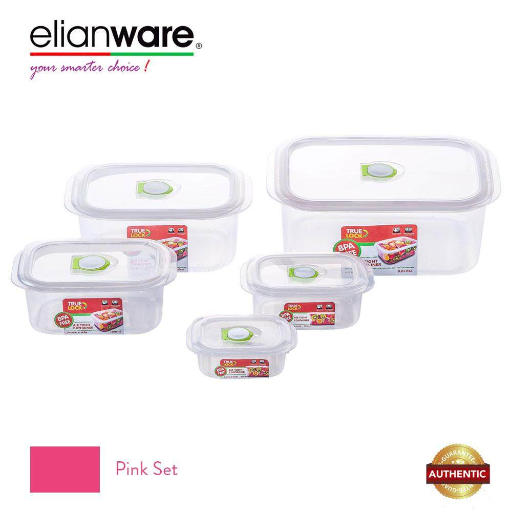 Elianware 5 Pcs BPA Free Clear Transparent Multipurpose Airtight Microwavable Container