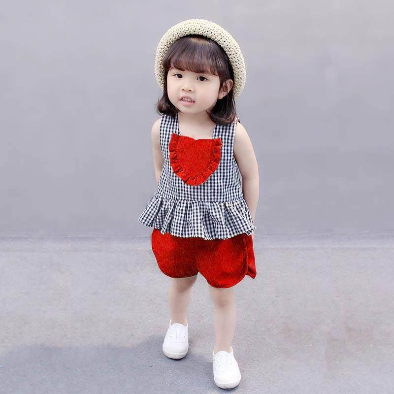 Amart แฟชั่น 2 ชิ้นเด็กสาวเสื้อกั๊กด้านบนไร้แขนกางเกงขาสั้นลายตารางเซ็ทชุดนอนเด็กฤดูร้อนเสื้อผ้า - Intl.