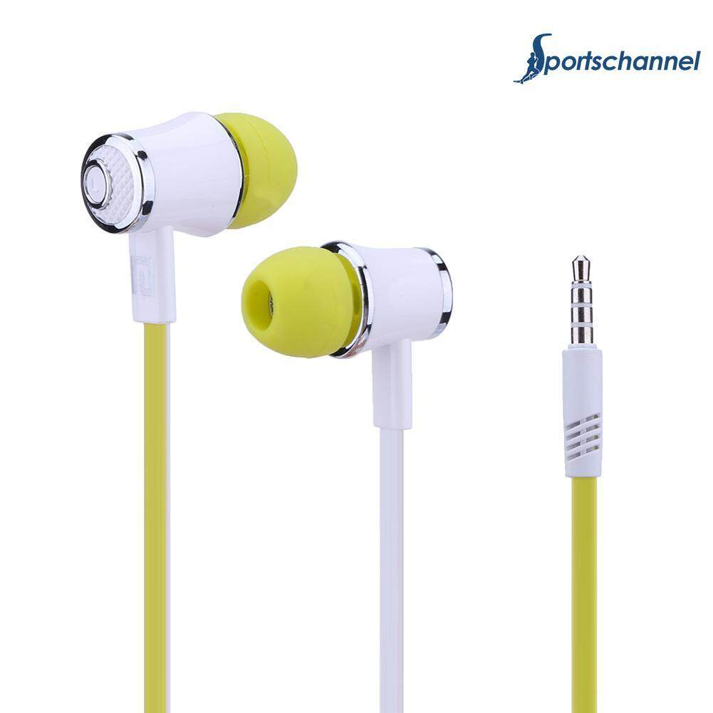 3.5mm Plug Flat Cable Wired Headset Moving Coil Stereo In-ear Earphone Headphone -