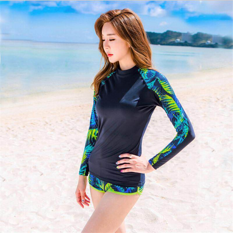 Quick-Drying Sunscreen Swimsuit Surf Wear Ms. Long-Sleeved Printing Tide Body By Super Swimsuit.
