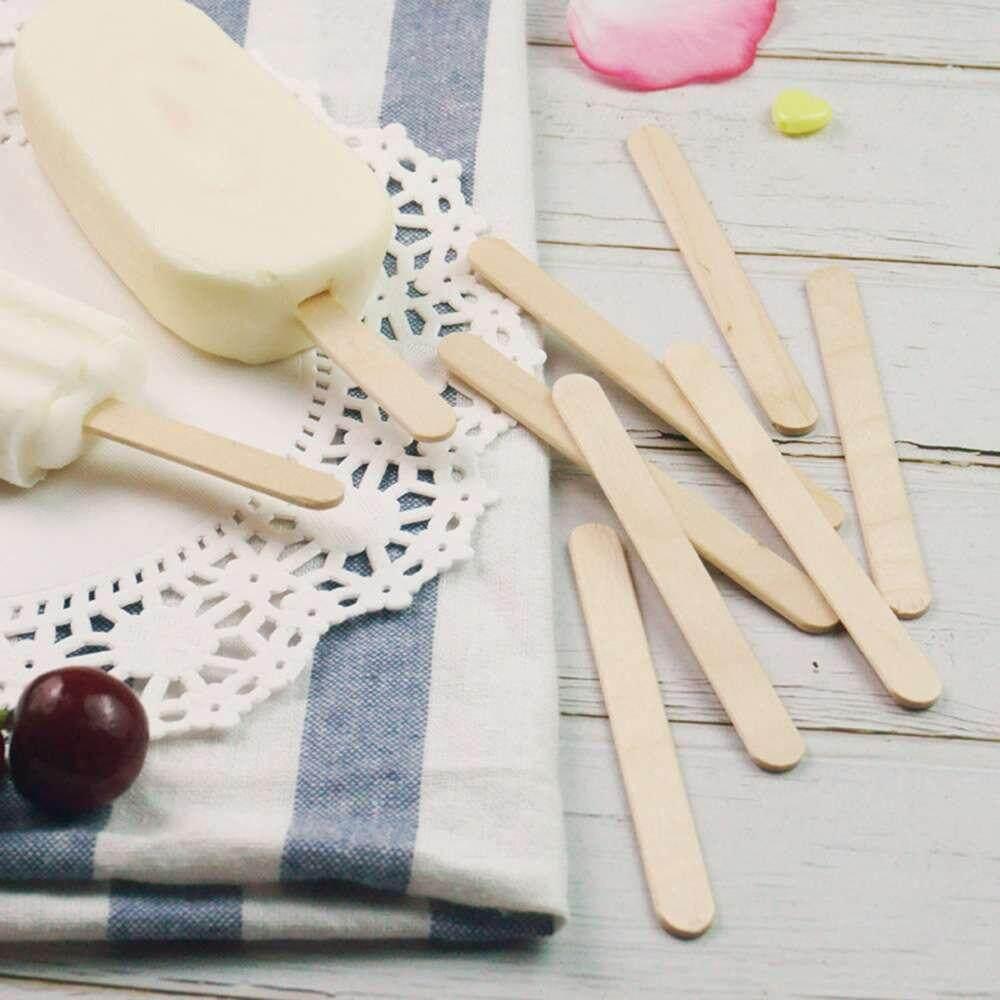 Hình ảnh Sway 50Pcs DIY Ice Cream Stick Wooden Kids Hand Crafts Art Cake Making - intl
