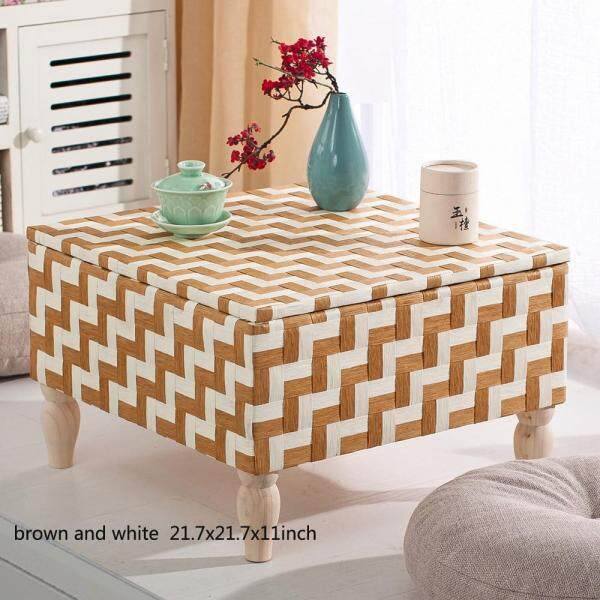 Japanese Style Handcrafted Eco-Friendly Breathable Padded Knitted Tea Table Hand Woven Tatami Coffee Table, Square Table, 21.7x21.7x11inch