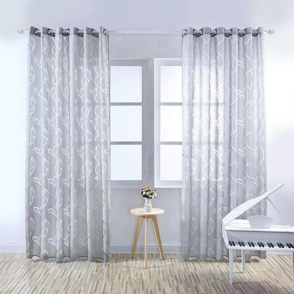 aiweiyi Concise Style Pure Color Leaves Door Window Curtain Panel Drapes Sheer Valances Tulle Curtains Window Treatments Bedroom Sheer Curtain,100*250cm - intl