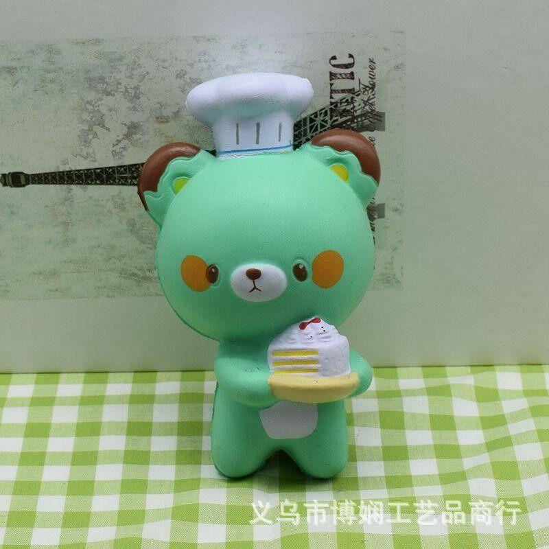 Beruang Squishy Baker Chef Jumbo 14 Cm Lambat Rising Kaus Hangat Huruf Lembut Squeeze Mainan