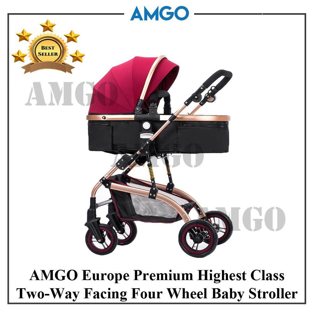 AMGO Luxurious High View Detachable Bassinet Anti-Shock Baby Car Lightweight Folding Two-Way Wheels Baby Stroller PR
