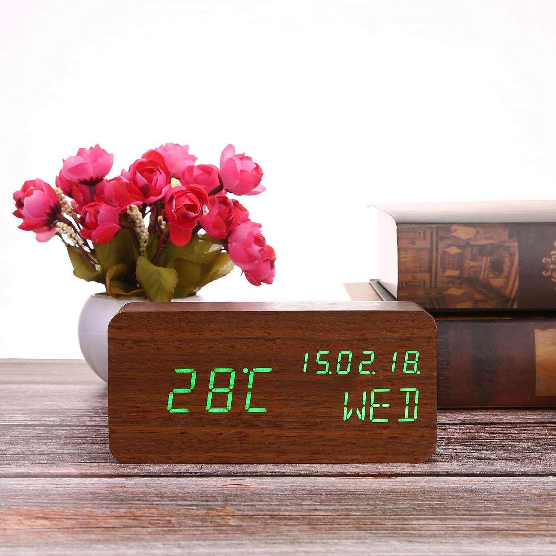 GoodGreat Alarm Clock,Wood Alarm Clock Voice Command Digital Clocks For Bedroom Beside LED Wooden Clock Small Alarm Clocks 3 Levels Brightness 3 Alarms Desk Clock Show Time Date Week Temperature For Office Home