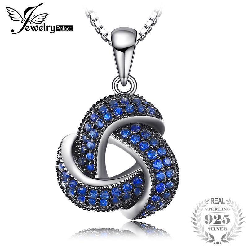 Jewelrypalace 0.5ct สร้างสปิเนลสีน้ำเงินดอกไม้ Wraparound Cluster สร้อยคอพร้อมจี้ 925 เงินสเตอร์ลิงไม่รวมโซ่ By Jewelrypalace.