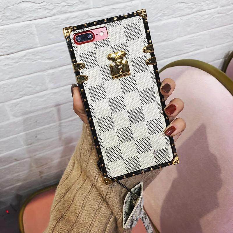 NEW Luxury Square Phone Case for VIVO X21 Phone Case Vintage Lattice Leather Soft Back Cover for VIVO X21 Coque with Lanyard